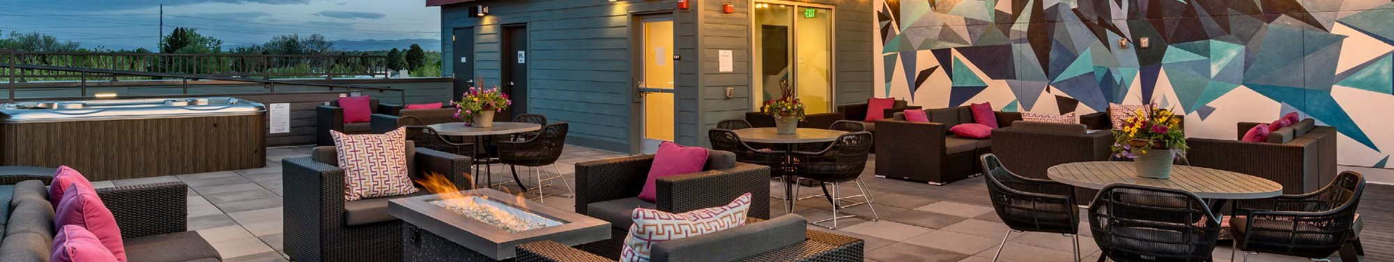 Rooftop Lounge at West Line Flats Apartments in Lakewood, CO