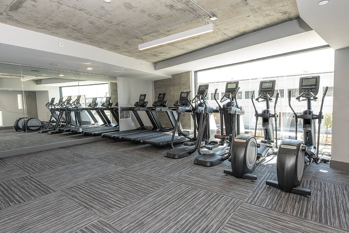 gym with cardio equipment   l Orion Apartments in Oakland