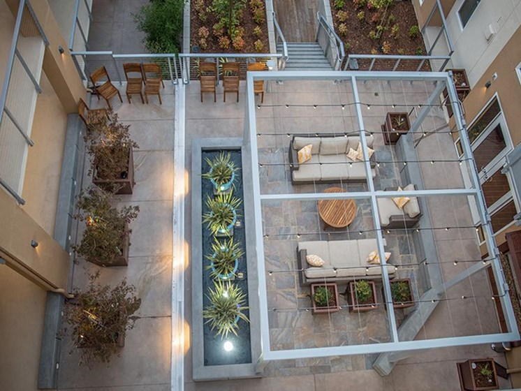 outdoor seating area overhead view