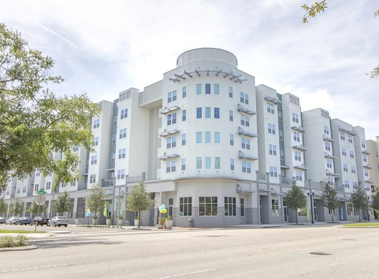 Blue building exterior