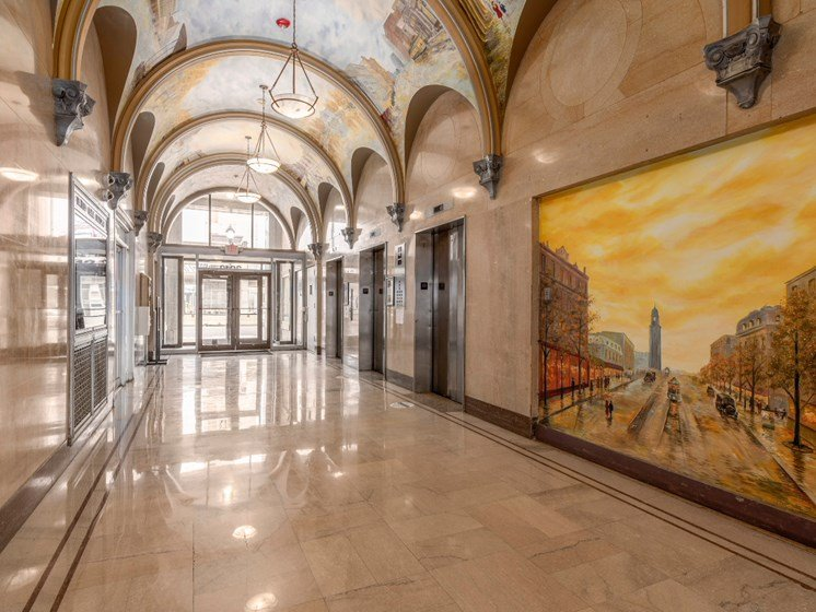 Lobby Area With Elevator at Market District Lofts, Cleveland, Ohio