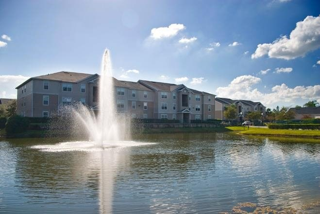 Waterfront View with Water Feature Trees and Building Exteriors