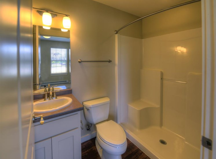 Bathroom with shower at Saddleview Apartments, Bozeman