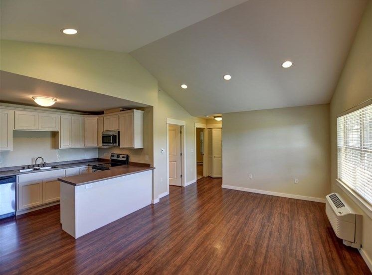 Two bedroom living and kitchen at Saddleview Apartments, Bozeman