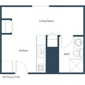 Brookfield Apartments | Efficiency Floor Plan
