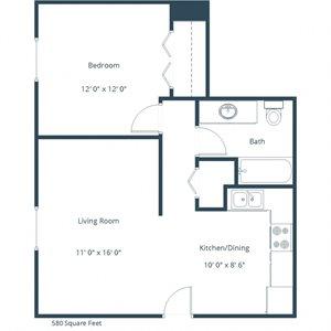 Brookfield Apartments | One Bedroom Floor Plan