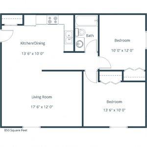 Brookfield Apartments | Two Bedroom Floor Plan