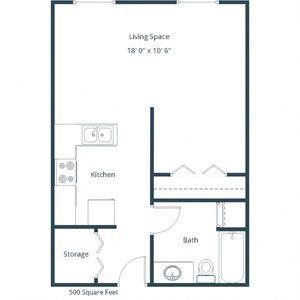 Sunwood Apartments | Efficiency Floor Plan