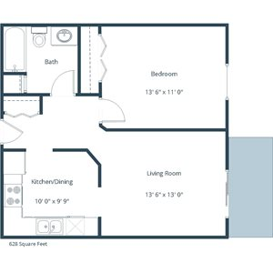 Sunwood Apartments | One Bedroom Floor Plan