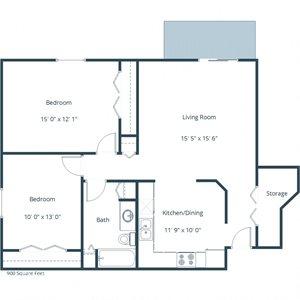 Sunwood Apartments | Two Bedroom Floor Plan A