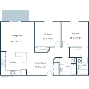 Sunwood Apartments | Two Bedroom Two Bath Floor Plan