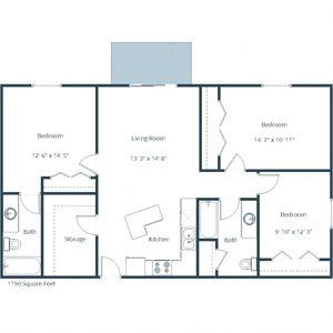 Sunwood Apartments | Three Bedroom Floor Plan C