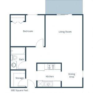 Westwood Estates | One Bedroom Floor Plan B