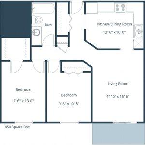 Westwood Estates Apartments | Two Bedroom Floor Plan A