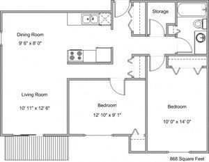 Westwood Estates Apartments | Two Bedroom Floor Plan B