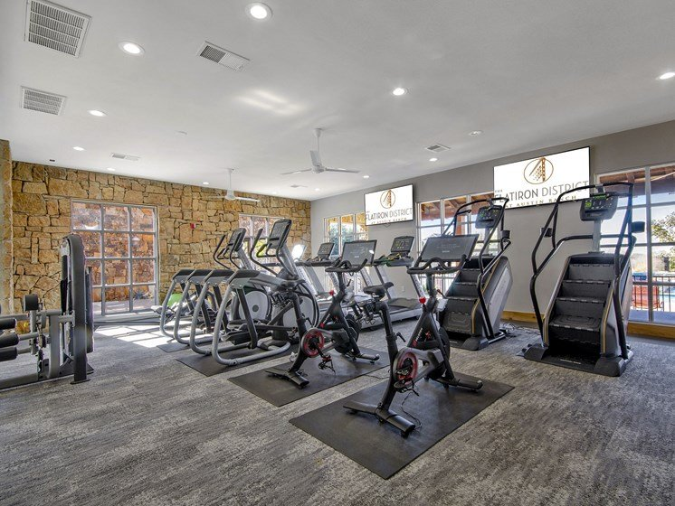 fitness center- cardio machines, weighted machines