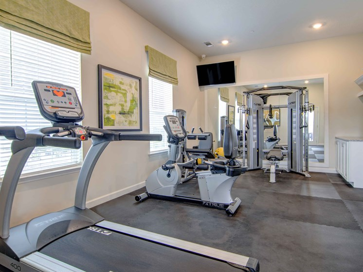 fitness center treadmill, weighted machines