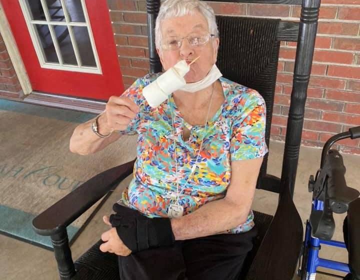 Senior Resident Eating An Ice-cream at Savannah Court of Camilla, Camilla, Georgia