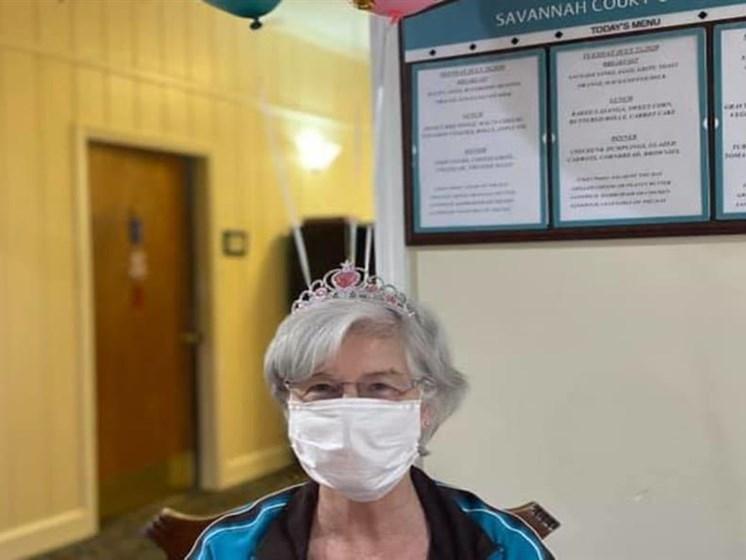Senior Resident Wearing A Mask at Savannah Court of Camilla, Camilla, 31730