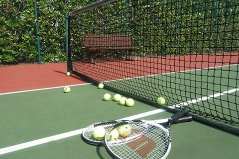 Tennis court close up of net, tennis raquets and balls