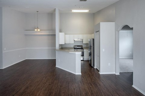 Vacant apartment home kitchen and dining room