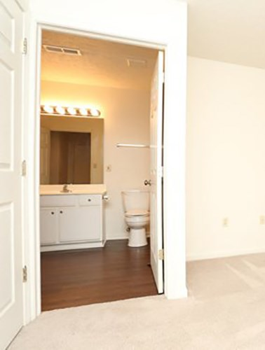 connected bathroom at Evansville IN apartment