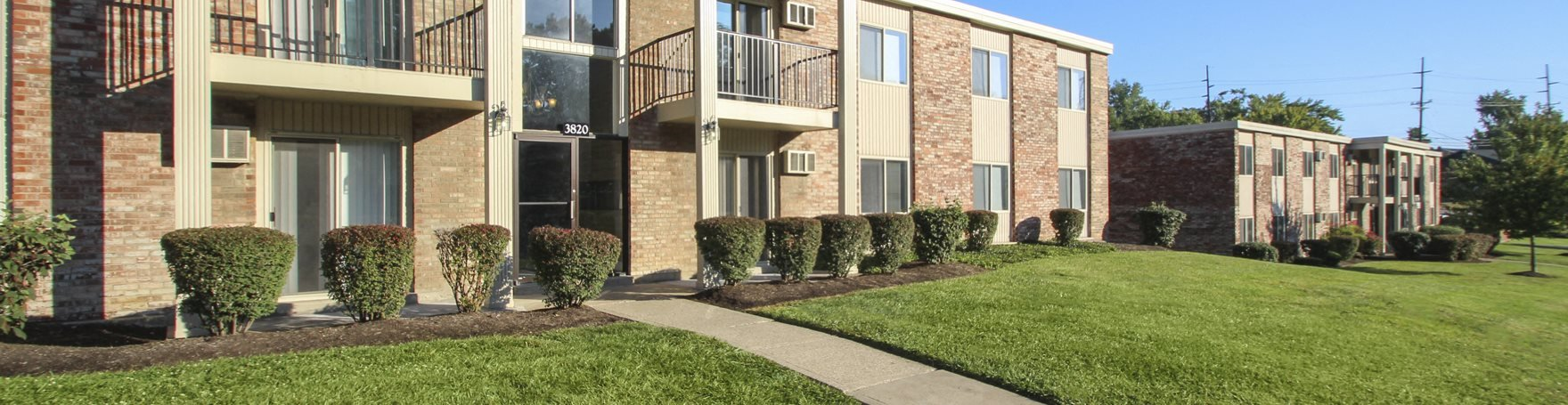 This is a photo of building exteriors at Blue Grass Manor Apartments in Erlanger, KY.