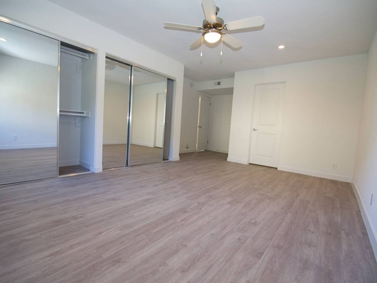 model unit bedroom with closet