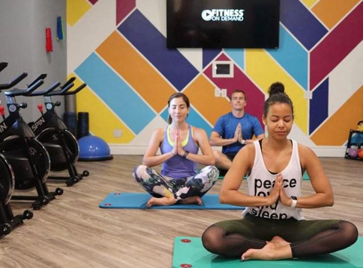 Fitness center yoga room