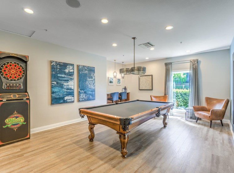 Riverside, CA Apartments for Rent -Stone Canyon Apartments Clubhouse with Billiards Table and Darts