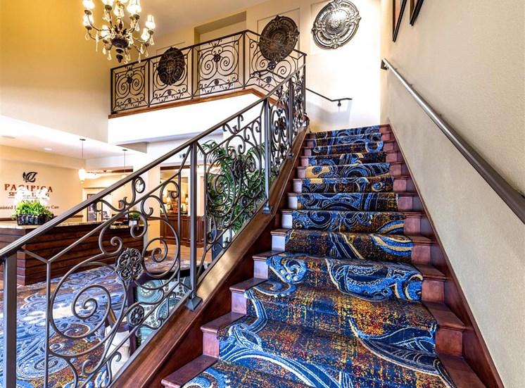 Colorful, Easy-Access Staircase at Pacifica Senior Living Oxnard, Oxnard, CA, 93036