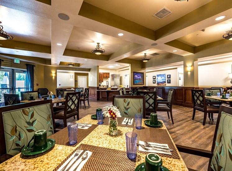 Elegant Dining Room Seating  at Pacifica Senior Living Oxnard, California