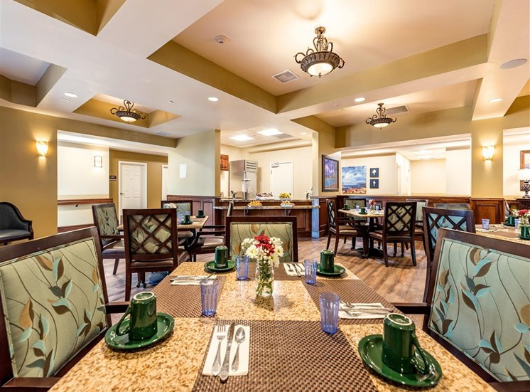 Community Seating in Dining Room  at Pacifica Senior Living Oxnard, California, 93036
