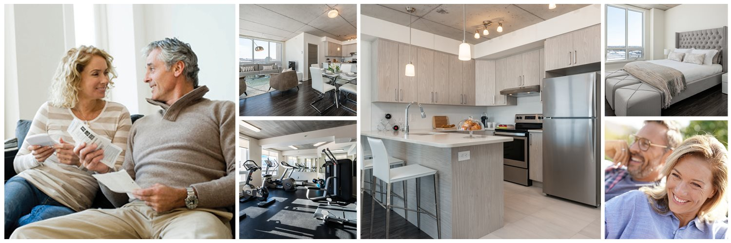 Collage of interior, exterior, and lifestyle images at Axial Towers in Laval, QC