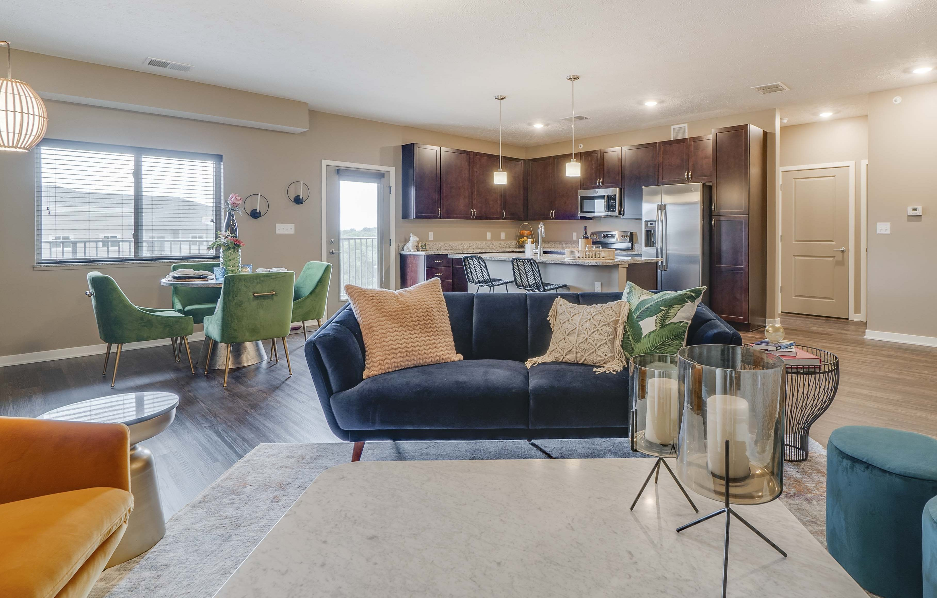 Spacious floorplans with kitchens with granite countertops at The Flats at Shadow Creek new luxury apartments in east Lincoln NE 68520