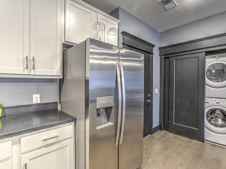 Side by side stainless steel refrigerator at The Helen