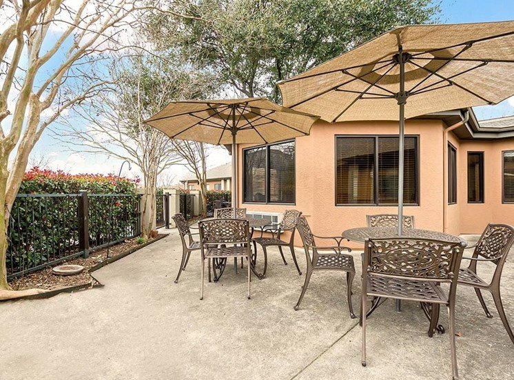 Shaded Outdoor Courtyard Area at NewForest Estates, San Antonio, TX, 78229