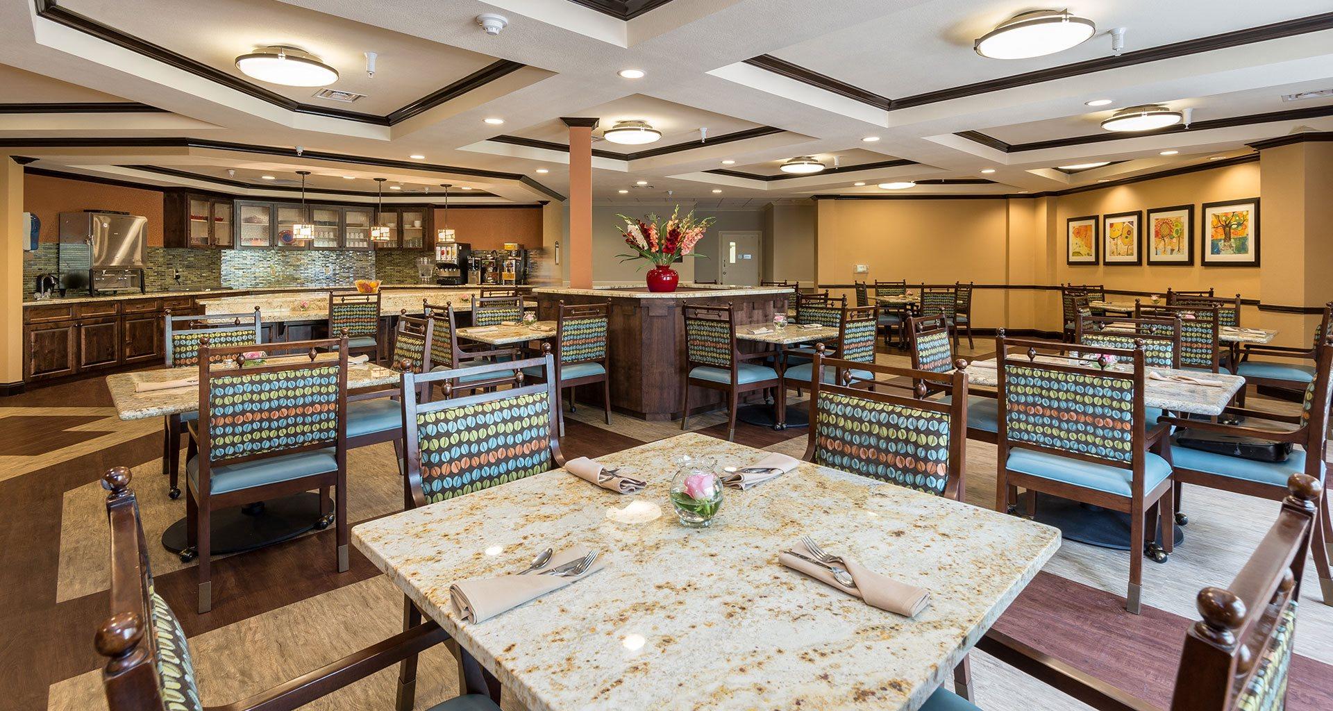 Private dining room at Pacifica Senior Living Santa Fe, Santa Fe, New Mexico
