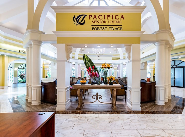 Decorated Reception And Lobby Area at Pacifica Senior Living Forest Trace, Florida, 33319