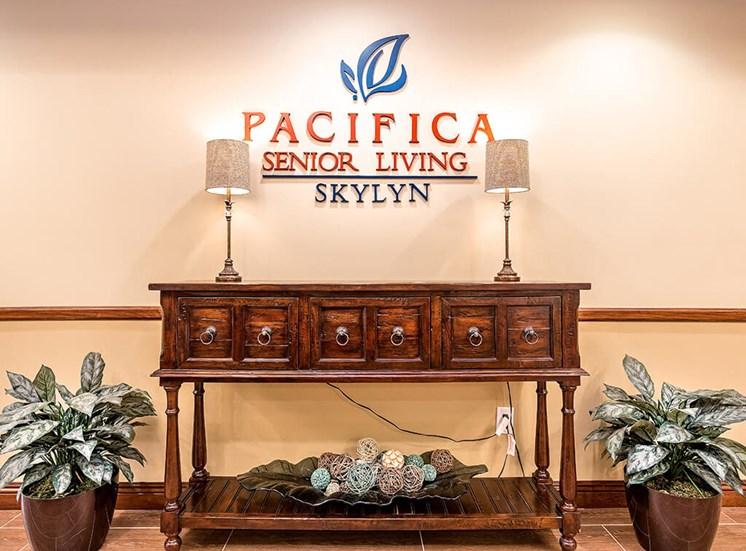 Entry Sign at Pacifica Senior Living Skylyn, Spartanburg, South Carolina