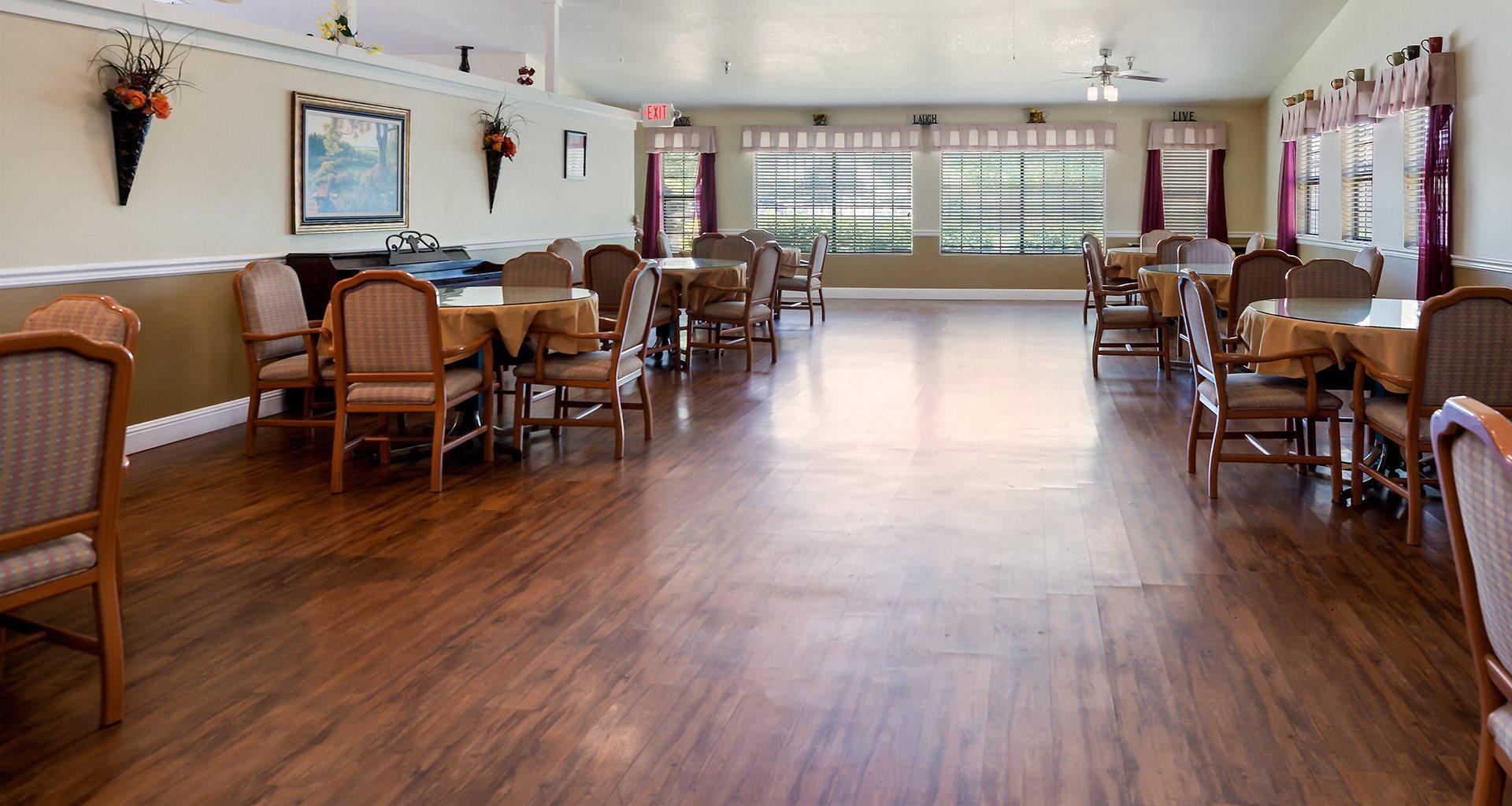 Hardwood Floors Community Kitchen at Valley Crest Memory Care, California, 92307