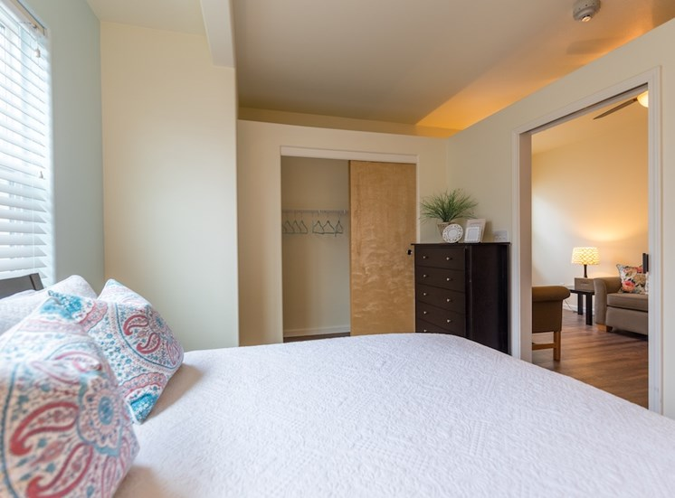 Large Bed and Closet in Bedroom at Pacifica Senior Living Vancouver, Vancouver