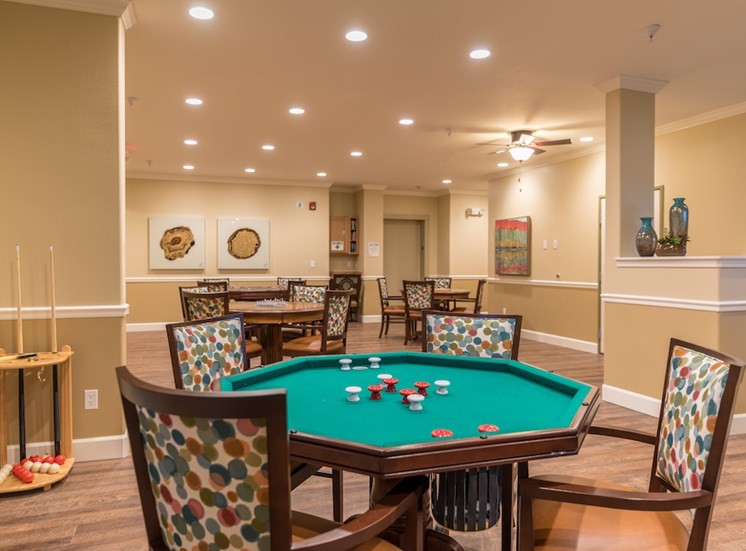 Inviting Game Room to Relax at Pacifica Senior Living Vancouver, WA 98684
