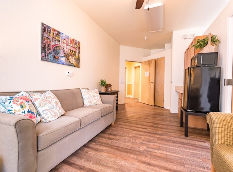 Huge Living Room with Wood Flooring  at Pacifica Senior Living Vancouver, Washington, 98684