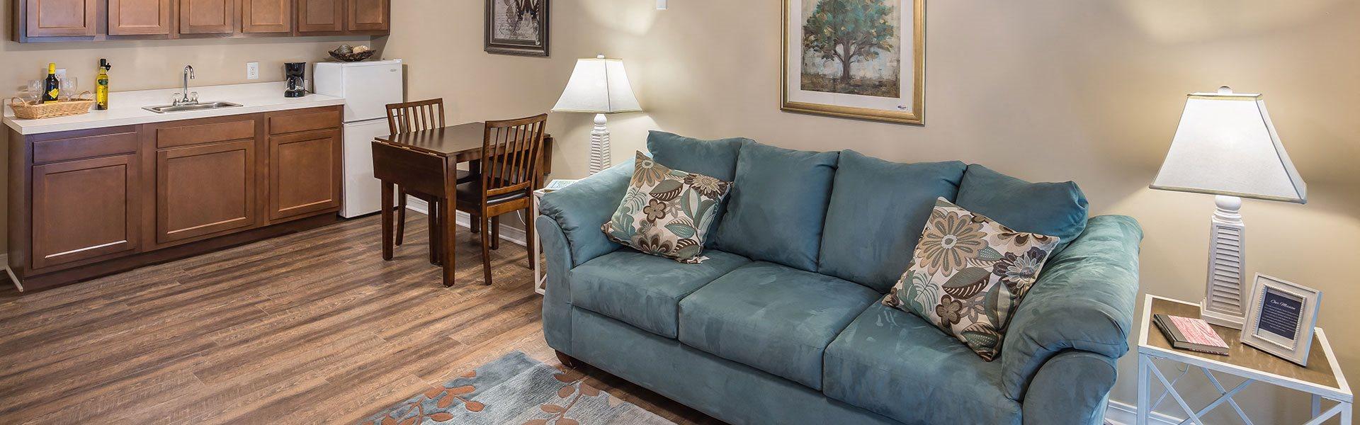 Comfy Sofa at Pacifica Senior Living, Wyndham Lakes, Jacksonville, Florida
