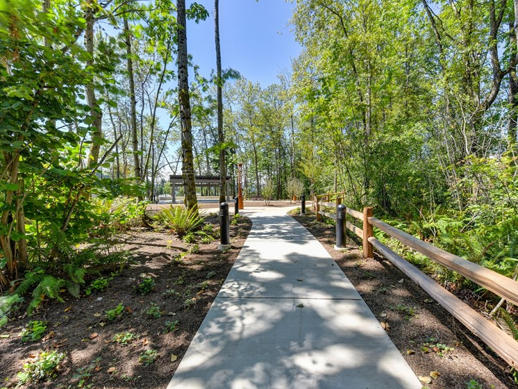 Walking Trail with Cement Path,  Wood Chip Ground, Trees, and Wooden Fence