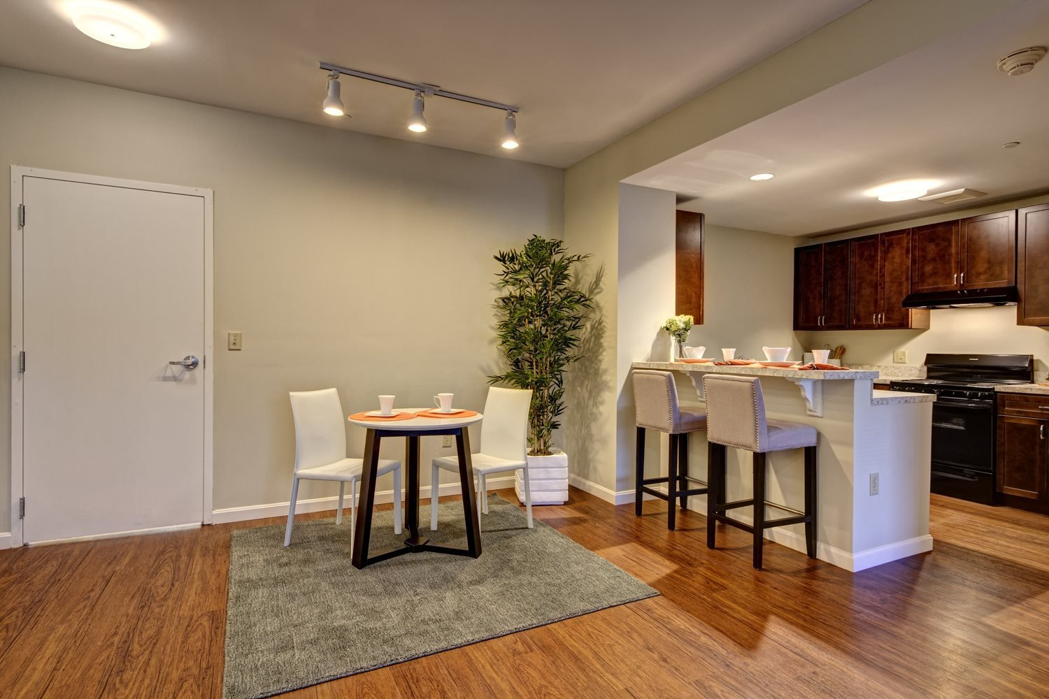 Apartment interior shows modern wood flooring and kitchen featuring a breakfast bar.