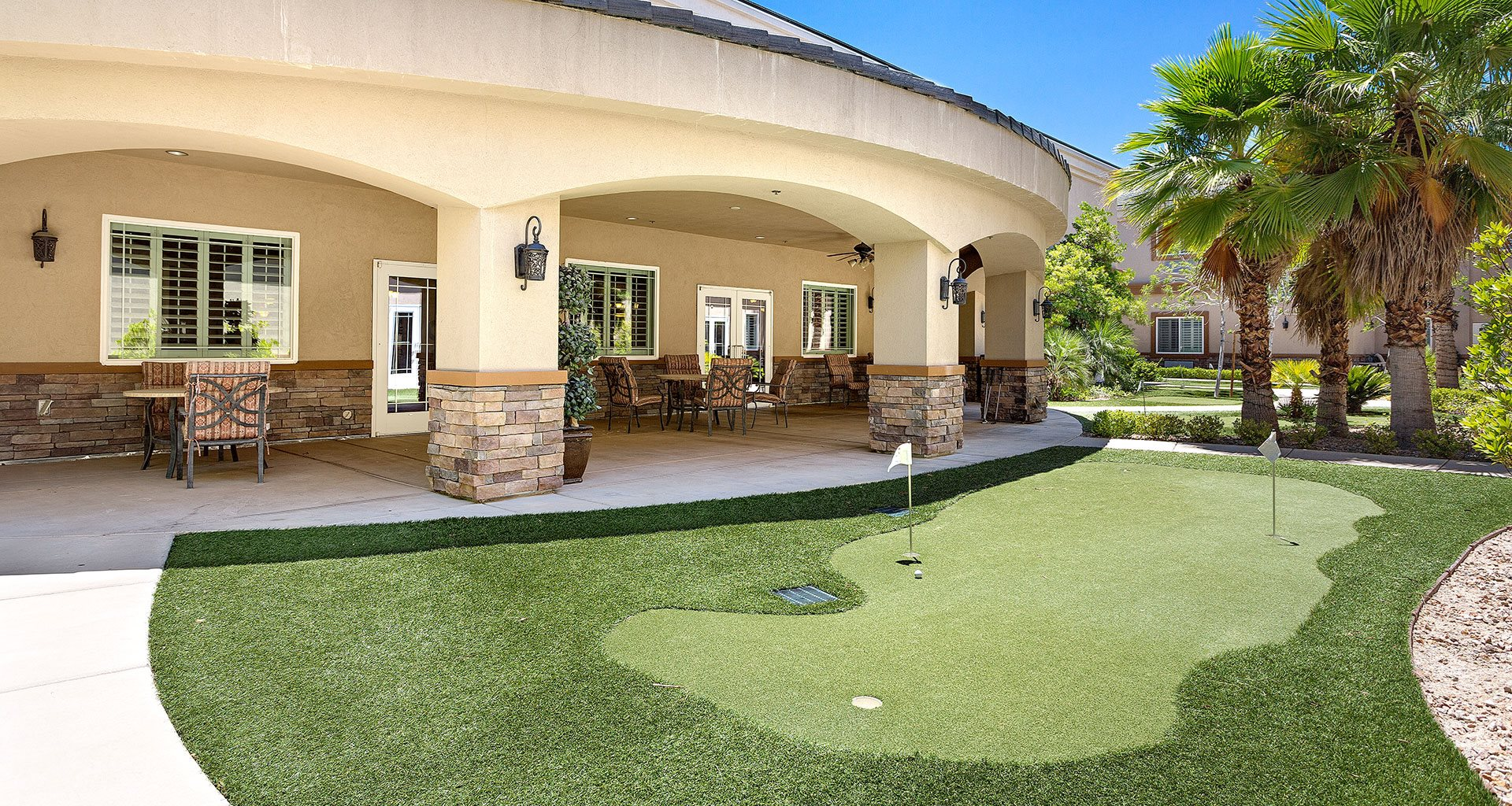 Courtyard With Green Space at Pacifica Senior Living San Martin, Nevada, 89113