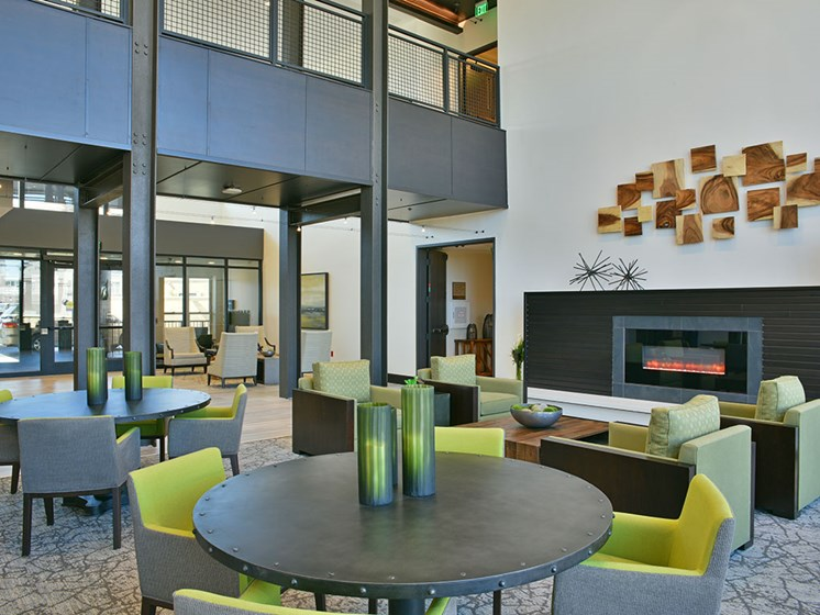 Common Area with Fireplace at Rose Senior Living – Carmel, Indiana, 46032