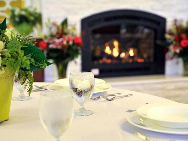 Fireplace at Rose Senior Living – Clinton Township, Clinton Township, Michigan